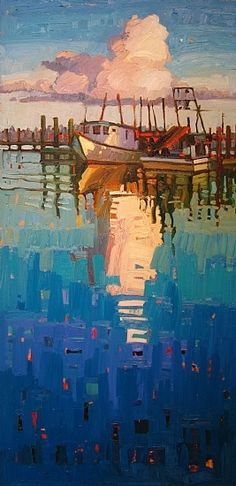 """Harbor Reflections"" by Rene' Wiley Gallery Unenhanced Giclée ~ Available in any 2to1 Size up to 80x40 inches x and original size is 40x20 inches"