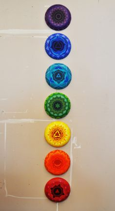 """""""Chakras"""" Acrylic paint on round canvases"""