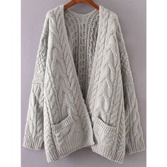Grey Drop Shoulder Cable Knit Cardigan With Pockets (€27) ❤ liked on Polyvore featuring tops, cardigans, grey, embellished top, pocket cardigan, embellished cardigan, long sleeve cardigan and chunky cable knit cardigan
