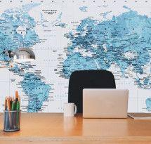 Adesivo de Parede – Mapa-múndi Educativo Azul