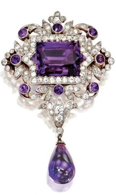 Tiffany &Co - Gold, Platinum, Amethyst and Diamond Pendant/ Brooch - Circa 1900 -       US$ 86,500..... Set in the center with a fancy rectangular star-cut Amethyst measuring approximately 16.5 by 9.7 mm., within an openwork frame of foliate design set with old mine and old European-cut Diamonds weighing approximately 1.80 carats, accented by round Amethysts, supporting an Amethyst pendant, signed Tiffany, with pendant loop.  With signed box.