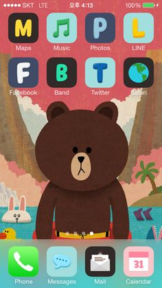 [LINE DECO] Cute Brown-! Adorable iphone home screen decorated with Brown wallpaper:) ★ In this screen ★ Deco Pack : Leonard + Moon + Brown + Cony Wallpaper: Brown on a tube