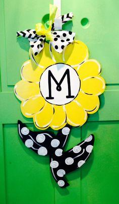 Daisy Flower with Polka Dots Door Hanger by JustPlainADoorAble, $40.00