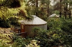 Yurt camping at Beverly Beach State Park in Oregon - the yurts rent for about $40 a night.