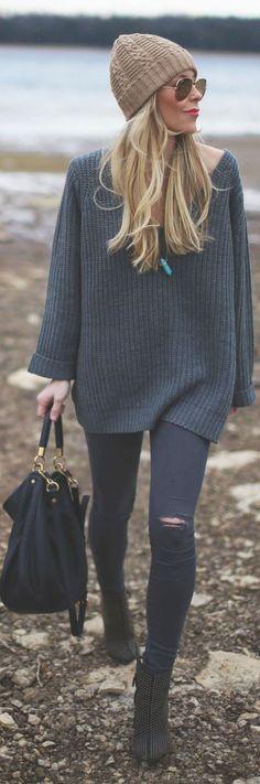 #fall #fashion / dark gray knit