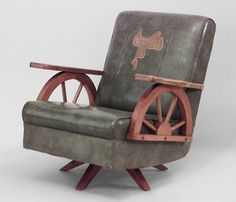 View This Item And Discover Similar Armchairs For Sale At   American  Western Ash Easy Chair Resting On A Swivel/ Rocker Base With Wagon Wheel  Arms And A ...