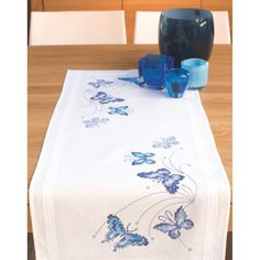 "Blue Butterflies Table Runner Stamped Embroidery Kit-16""X40"""