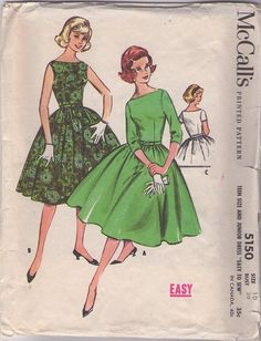 McCall's 5150 Vintage 50's Sewing Pattern ELEGANT Simple Grace Kelly Bateau Neck Full Circular Flared Skirt Cocktail Party Dress #MOMSPatterns