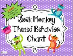"""Behavior Chart- Sock Monkey Theme! Editable- 7 Levels to encourage great behaviorDo you use the very popular """"clothespin clip"""" behavior color chart? If so, you will love these 8.5 by 11 sized papers to freshen up your chart. 7 levels to allow your students to move up and down based on behavior."""