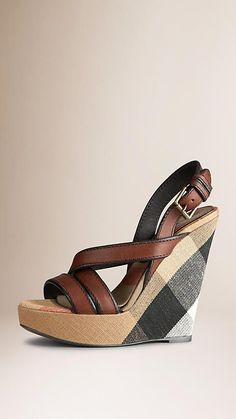 461141ad450 Burberry Dark Tan Canvas Check Leather Platform Wedges - Unique Canvas  check platform wedges Elegant leather
