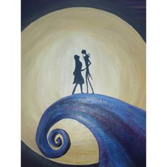 Nightmare Before Christmas Painting, Jack and Sally on hill, Jack... ($95) ❤ liked on Polyvore featuring home, home decor, wall art, canvas painting, moon painting, metallic wall art, moon wall art and framed wall art