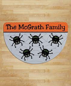Loving this Spider Web Personalized Five-Name Round Indoor/Outdoor Doormat on #zulily! #zulilyfinds