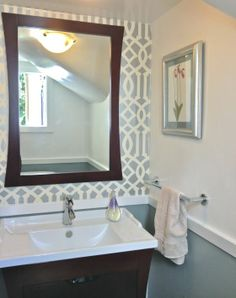 chair rail and accent wall - powder room