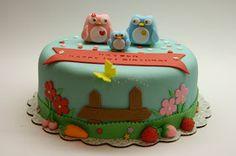 Beautiful Kitchen: Owls and Garden Cake for Hayden's 1st Birthday