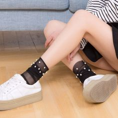 f203ea2bf Cute 1 Pair Women Summer Glitter Mesh Ankle Socks Silver Pearl Gauze  Fishnet Socks New