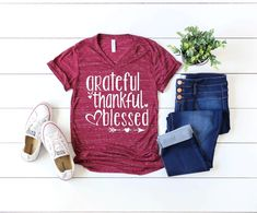 Thankful and Blessed Shirt - Fall Shirt - Thanksgiving Shirt - Women's Fall Shirt - Give Thanks - Thankful Grateful Blessed Shirt-Fall Tees Blessed Shirt, Thankful And Blessed, Grateful, Fall Shirts, Tee Shirts, Christian Shirts, Sweater Weather, V Neck Tee, Casual Shirts
