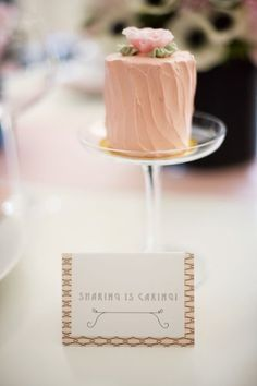 Love this for a wedding. Use individual cakes as place settings at each table, then of course have a topper style cake for the bride and groom. Super cute and unique! Love~Ashley