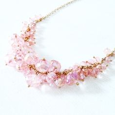 pink crystal statement necklace offers welcome light pink crystal-like statement necklace with adjustable length. •680018•  website: xomandysue.com instagram: xomandysue Forever 21 Jewelry Necklaces