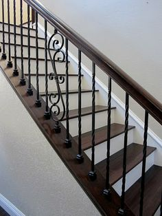 Rustic elegant home tour Rustic elegant house tour with lots of DIY and before and afters. No more Builder grade . Wrought Iron Staircase, Iron Stair Railing, Staircase Railings, Wood Stairs, House Stairs, Banisters, Staircases, Rustic Elegant Home, Rustic Elegance