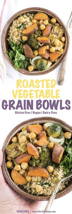 Roasted Vegetable Grain Bowls are a simple and easy to make recipe that's perfect for dinner any night or as a nutritious make-ahead lunch perfect for all week long. | healthy dinner recipe | gluten free, vegan, dairy free, easy to make | nourishedtheblog.com
