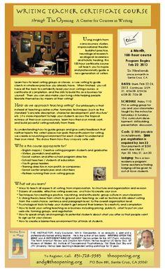 Santa Cruz, CA 6 Month, 100-hour course Program Begins Feb 22, 2013 Six Weekends once a month in Santa Cruz, CA.    Using insights from consciousness studies, improvisational theater, Buddhist practice, neurological ...