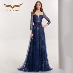 >> Click to Buy << Coniefox 32169 blue Retro flower sexy Slim dress A-Line Elegant princess evening dress Party Prom gowns long vestido de novia #Affiliate