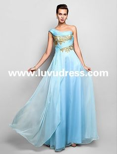 Sheath/Column One Shoulder Floor-length Chiffon 2015 Prom Dress