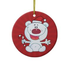 Santa Polar Bear Ornaments