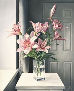 For Sale on - Pink Lilies, Painting, Oil on Canvas, Oil Paint by Natalia Beccher. Offered by Zatista. Lily Painting, Oil Painting On Canvas, Tulip Bouquet, Realism Art, Pink Lily, Flower Arrangements, Beautiful Flowers, Fine Art, Flowers Garden