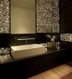 modern bath with a glamorous touch.. LOVE