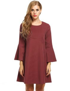 Red Women Fashion Retro Round Neck Flare Long Sleeve Solid A-Line Short Going Out Dresses