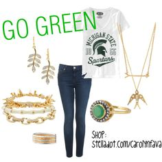 """""""Back to School MSU Spartan Style"""" on Polyvore  Shop the jewels at: stelladot.com/carolynfava"""