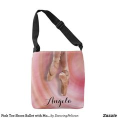 Pink Toe Shoes Ballet with Monogram Tote Bag - A cute ballet tote with pink toe shoes and custom monogram that you can edit with your desired name or other text. It makes a lovely gift for a dancer or ballet student. Sold at DancingPelican on Zazzle.