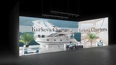 220 Yacht Charters Kurkova Charters | Ansprechender Messestand eines Yacht Charter Anbieters.  Die rahmenlos bedruckten Leuchtwände mit schönen Yacht Motiven vermitteln Reisefeeling pur ...