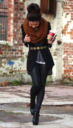 black skinnies + layers + black blazer +big scarf + belt... and flats for a teacher outfit
