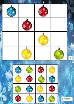 sudoku 1 Winter Activities, Christmas Activities, Art Activities, Christmas Math, Christmas Crafts, School Library Lessons, Card Games For Kids, Math Manipulatives, Theme Noel