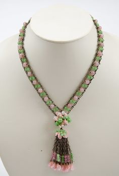 Rousselet hand made glass and pearl pendant necklace, 1950s 2