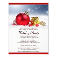 Holiday Party Invitation With Red Ornaments  Best Holiday Party