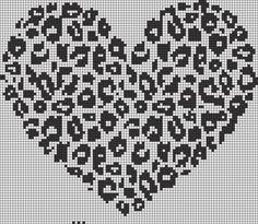 Alpha friendship bracelet pattern added by heart cheetah print love. Crochet Cross, Crochet Chart, Crochet Stitches, Cross Stitching, Cross Stitch Embroidery, Cross Stitch Patterns, Loom Beading, Beading Patterns, Knitting Charts