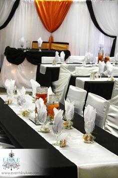 Orange Black And White Wedding Backdrop Head Table Decor