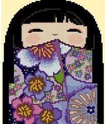 Kokeshi+Girl+Doll+4++MISAKI+by+CrossStitchRinna+on+Etsy