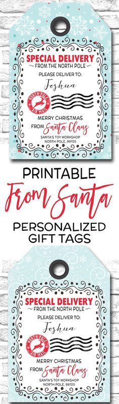 Free printable christmas gift tags from shabby art boutique personalized from santa gift tags printable christmas gift tags https negle Gallery