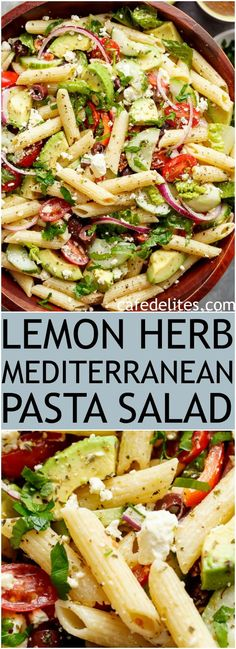 Lemon Herb Mediterranean Pasta Salad is loaded with so many Mediterranean salad . - Lemon Herb Mediterranean Pasta Salad is loaded with so many Mediterranean salad ingredients, and dr - Mediterranean Pasta Salads, Mediterranean Diet Recipes, Mediterranean Salad Dressing, Healthy Pastas, Healthy Recipes, Healthy Pasta Salad, Vegetarian Pasta Salad, Cold Pasta Salads, Veggie Pasta Recipes