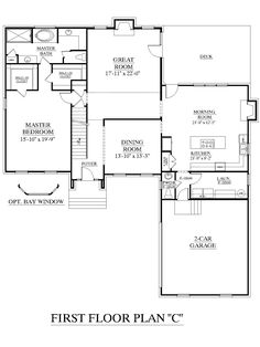 House plans  Floors and Traditional house on PinterestHouse Plan Springdale  quot C quot  first floor  Traditional house   bedrooms  Master Bedroom downstairs and bedrooms upstairs  Two Bonus Rooms for flexible