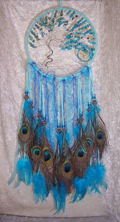 Windswept Turquoise TREE of LIFE Dreamcatcher par FeatheredDreams1