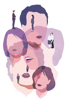 "Editorial illustration by Yasmine Gateau for Le Monde Des Livres ""Arnaud Cathrine Pas exactement l'amour""."