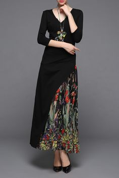 V Neck Print Chiffon Maxi Dress