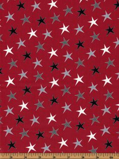 Christmas Stars- Gray, Black and White on Red Background from the Around Town Christmas Collection by Studio E Fabrics - 100% by QuiltsOnTheFly on Etsy