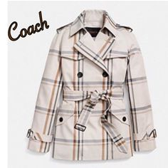 Coach Trench Coat NWOT Gorgeous Coach trench coat with plaid design with ecru base and brown, gray and black plaid. Black buttons as well as black bucket on belt and detail around both sleeves. Wonderful classic design! Worn once! Coach Jackets & Coats Trench Coats