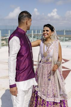 This Indian bride and groom elegantly coordinated their wedding attire for the indian wedding;  Looks gorgeous!